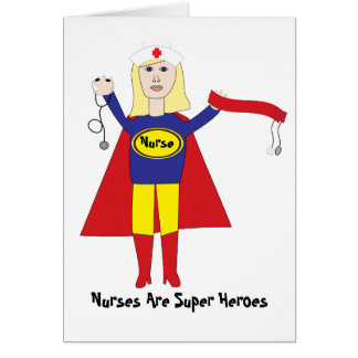 Tarjeta (rubia) del super héroe de la enfermera