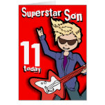 Tarjeta rubia roja del muchacho del 11mo cumpleaño