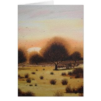 tarjeta rural rústica del arte del paisaje del arb