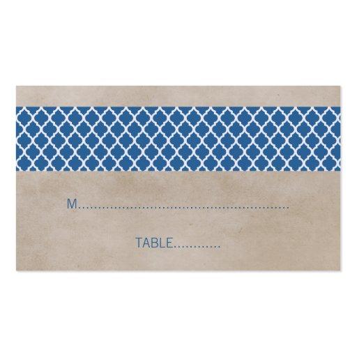 Tarjeta rústica azul del lugar del boda de Quatref Tarjetas Personales