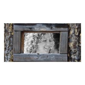 Tarjeta rústica de la foto del marco de la cerca plantilla para tarjeta de foto