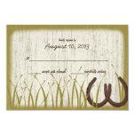 Tarjeta rústica de la respuesta del boda del prado invitacion personalizada