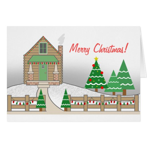 Tarjeta rústica de las luces de navidad de la esce