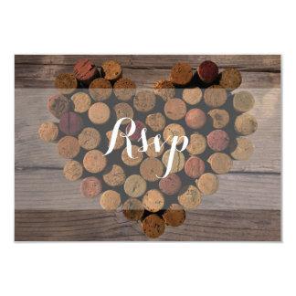 """Tarjeta rústica de RSVP del corcho del vino Invitación 3.5"""" X 5"""""""