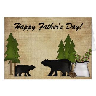 Tarjeta rústica del día de padre del oso de la