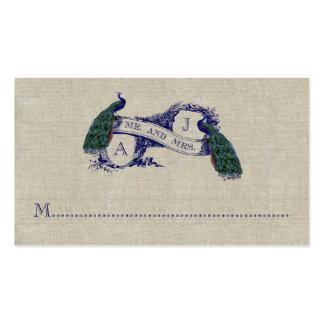 Tarjeta rústica del lugar del boda del pavo real d plantilla de tarjeta de negocio