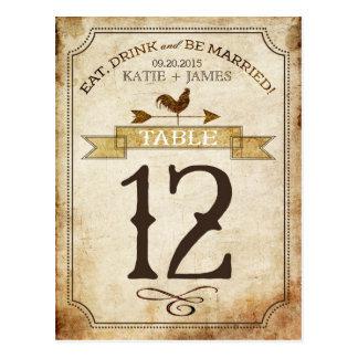 Tarjeta rústica del número de la tabla del país postales