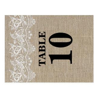 Tarjeta rústica del número de la tabla del yute y postal