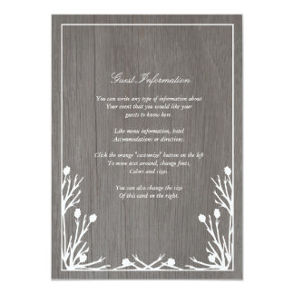 """Tarjeta rústica del parte movible del boda del invitación 4.5"""" x 6.25"""""""
