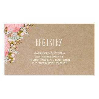 Tarjeta rústica del registro de las flores que se tarjetas de visita