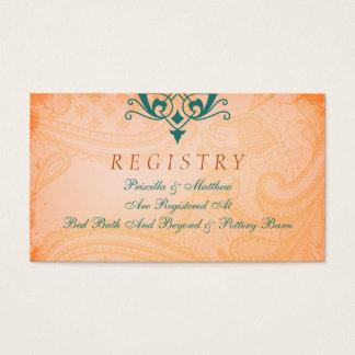 Tarjeta rústica, toscana del registro del boda del tarjetas de visita