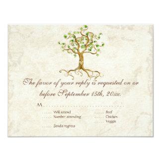 Tarjeta sabia Antiqued raíces de la respuesta de Invitación 10,8 X 13,9 Cm