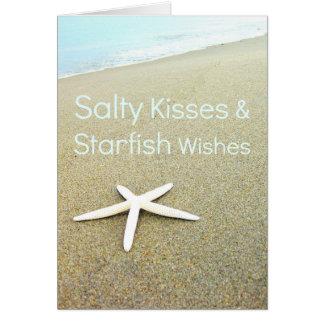 Tarjeta salada de los deseos de los besos y de las