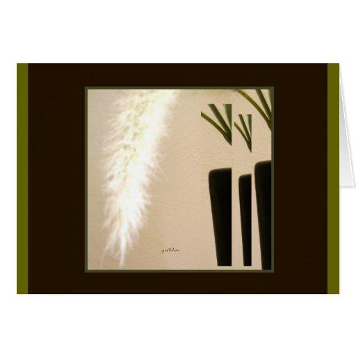 Tarjeta, saludando - pluma y florero 3