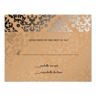 """tarjeta salvaje de RSVP del puma del damasco Invitación 4.25"""" X 5.5"""""""