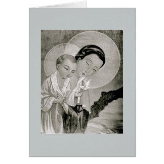 Tarjeta santa coreana de Maria y de Jesús