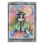 Tarjeta siamesa de la bruja de Wiccan Halloween