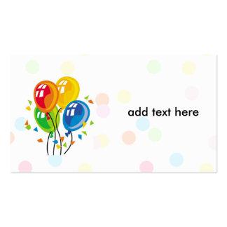tarjeta simple con los globos tarjetas de visita
