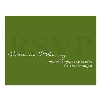 Tarjeta simple de la respuesta del boda de RSVP de Postales