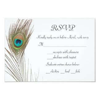 """Tarjeta simple de RSVP de la pluma del pavo real Invitación 3.5"""" X 5"""""""