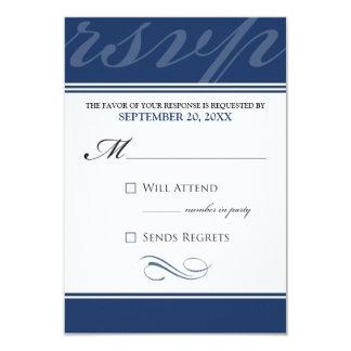 """Tarjeta simple de RSVP del diseñador (azules Invitación 3.5"""" X 5"""""""