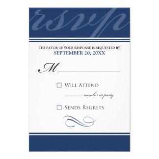 Tarjeta simple de RSVP del diseñador azules marin Invitación Personalizada