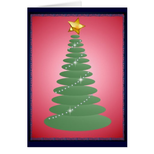 Tarjeta simple del árbol de navidad y de la estrel
