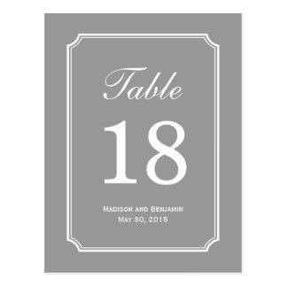 Tarjeta simplemente elegante del número de la tabl tarjeta postal