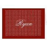 Tarjeta sin fin roja del amor de Ryan