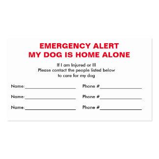 Tarjeta sola casera del contacto de la emergencia tarjetas de visita