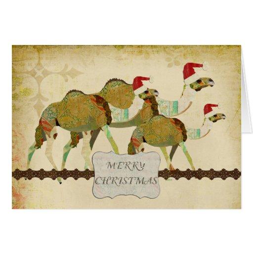 Tarjeta soñadora de las Felices Navidad del vintag