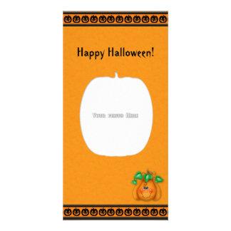 Tarjeta sonriente de la foto de la calabaza del fe tarjetas fotograficas personalizadas