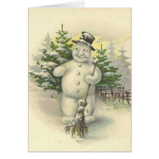 Tarjeta sonriente del muñeco de nieve del vintage