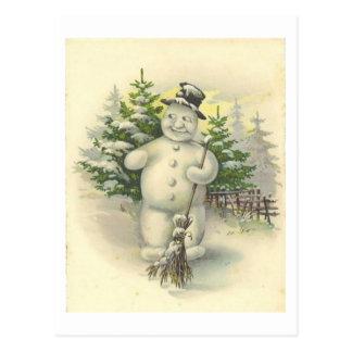 Tarjeta sonriente del muñeco de nieve del vintage tarjetas postales