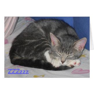 Tarjeta Sq de la siesta del gatito de las manoplas