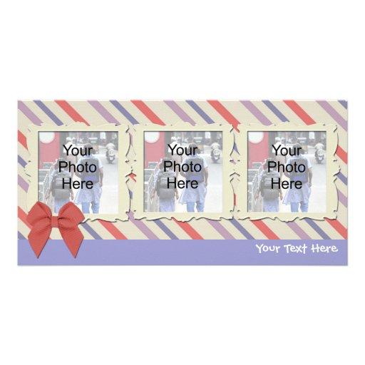 Tarjeta suave de la foto de las rayas, cualquier o plantilla para tarjeta de foto