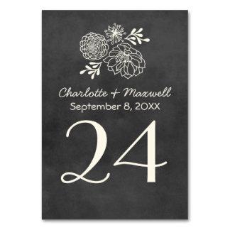 Tarjeta Tablecard del número de la tabla del boda
