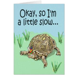 Tarjeta tardía del feliz cumpleaños de la tortuga