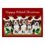 Tarjeta tardía feliz de los perritos del beagle