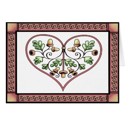 tarjeta - tarjeta del corazón del oakleaf por el t