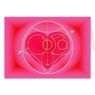Tarjeta: Te amo - corazón rosado Tarjeta De Felicitación