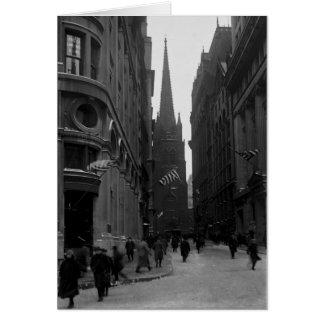 Tarjeta temprana de los 1900s de Wall Street y de