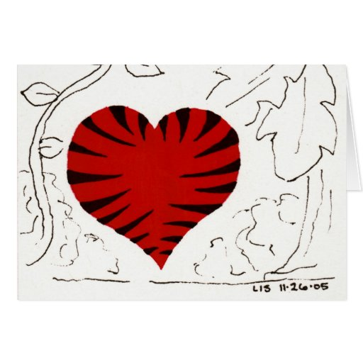 Tarjeta Tigre-Rayada del corazón (detalle)