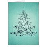Tarjeta tipográfica del árbol de navidad del trull