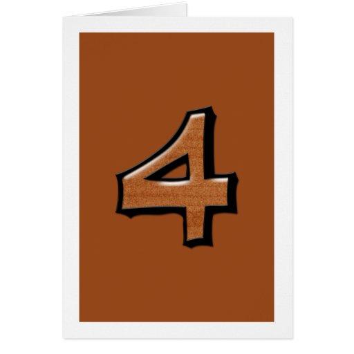 Tarjeta tonta del chocolate del número 4