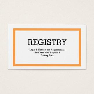 Tarjeta tradicional del registro del boda de la tarjetas de visita