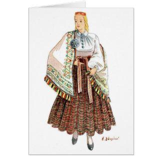 Tarjeta tradicional letona del traje