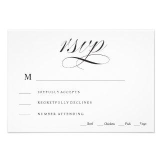 Tarjeta tradicional negra y blanca de RSVP que se Invitaciones Personalizada