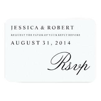 Tarjeta tradicional negra y blanca de RSVP que se Invitación 8,9 X 12,7 Cm