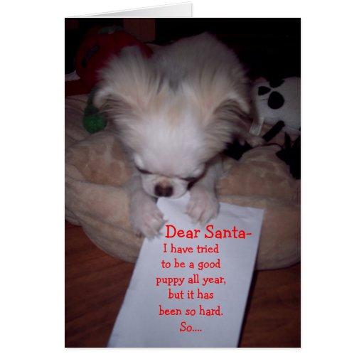 Tarjeta traviesa del perrito del navidad